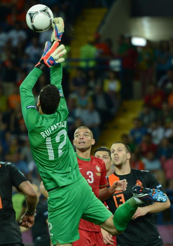 Portuguese goalkeeper Rui Patricio clears the ball during the Euro 2012 football championships match Portugal vs. Netherlands, on June 17, 2012 at the Metalist stadium in Kharkiv. AFP PHOTO / FRANCISCO LEONGFRANCISCO LEONG/AFP/GettyImages