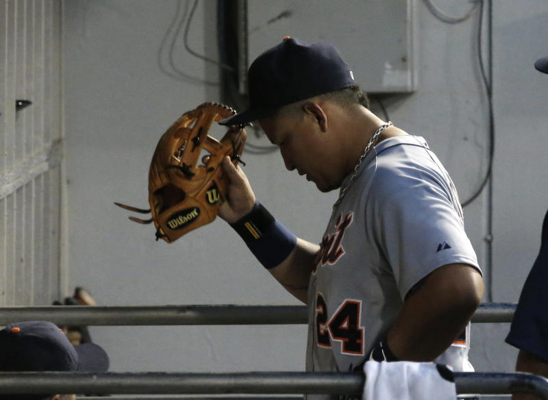 Detroit Tigers' Miguel Cabrera heads to the clubhouse after being replaced the fifth inning of a baseball game against the Chicago White Sox Monday, July 22, 2013, in Chicago. (AP Photo/Charles Rex Arbogast)
