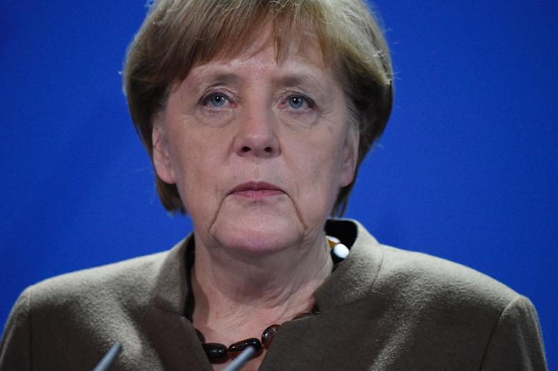 German Chancellor Angela Merkel makes a statement on the Brussels bombings at the chancellery in Berlin on March 22, 2016