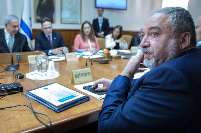 Israeli Defence Minister Avigdor Lieberman attends a weekly cabinet meeting in Jerusalem on February 4, 2018