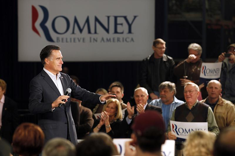 Republican presidential candidate, former Massachusetts Gov. Mitt Romney speaks at a campaign rally in Fargo, N.D., Thursday, March 1, 2012. (AP Photo/Gerald Herbert)