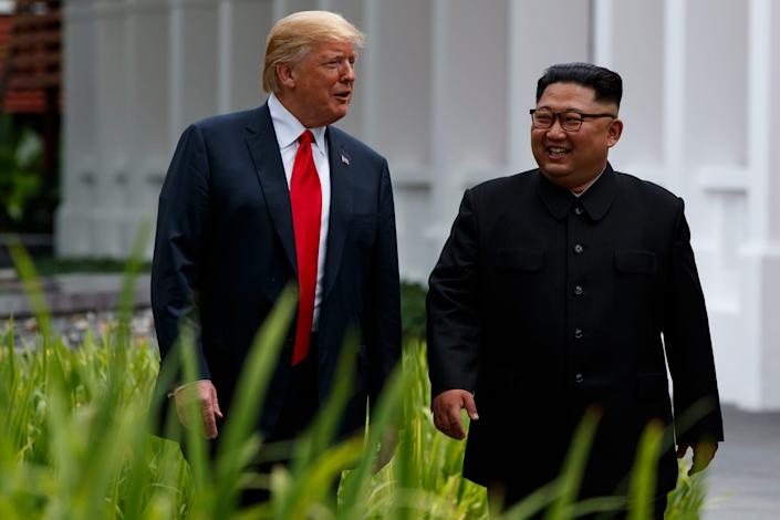 President Donald Trump and North Korean leader Kim Jong Un in Singapore in 2018.