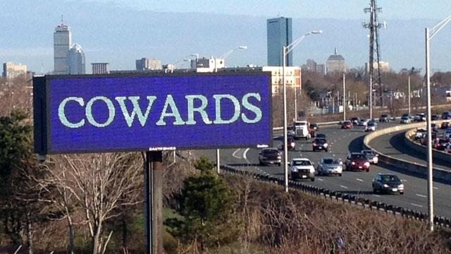 'Cowards' Billboard Lights Up Boston Skyline in Wake of Blasts (ABC News)