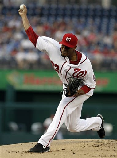 Washington Nationals starting pitcher Edwin Jackson throws during the first inning of a baseball game against the St. Louis Cardinals, Thursday, Aug. 30, 2012, in Washington. (AP Photo/Alex Brandon)