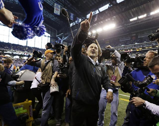 Indianapolis Colts head coach Chuck Pagano acknowledges the fans after the Colts defeated the Houston Texans, 28-16, in an NFL football game, Sunday, Dec. 30, 2012, in Indianapolis. (AP Photo/Michael Conroy)