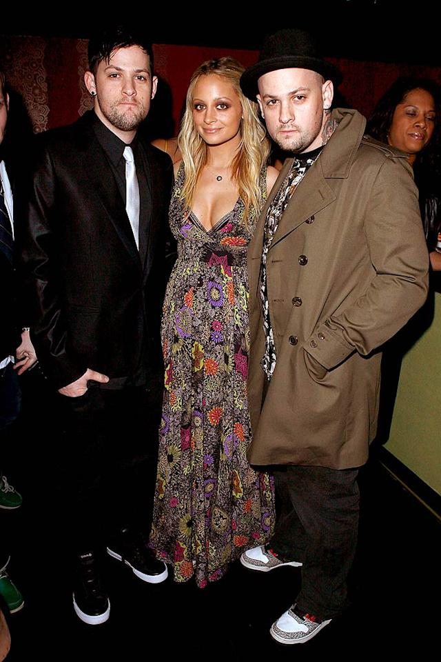 "It was date night for Joel Madden and Nicole Richie - sort of! The new parents left their baby girl with a sitter and hit up STK LA with Joel's bro, Benji. Jeff Vespa/<a href=""http://www.wireimage.com"" target=""new"">WireImage.com</a> - February 10, 2008"