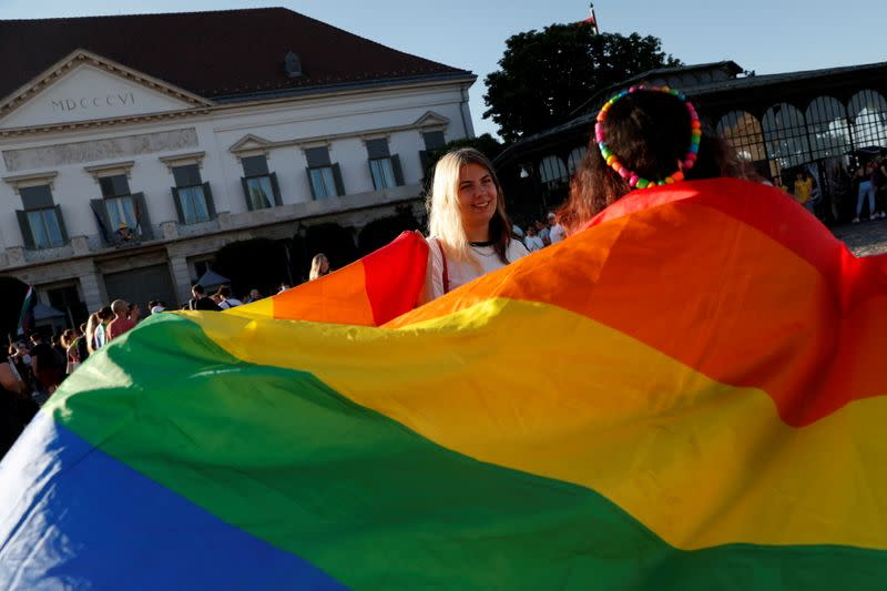 FILE PHOTO: Demonstrators protest against law that bans LGBTQ content in schools and media, in Budapest