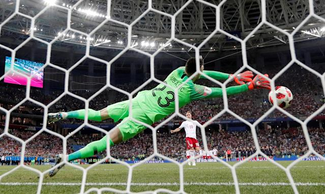 """Soccer Football - World Cup - Round of 16 - Croatia vs Denmark - Nizhny Novgorod Stadium, Nizhny Novgorod, Russia - July 1, 2018 Croatia's Danijel Subasic saves a penalty from Denmark's Christian Eriksen during the shootout REUTERS/Darren Staples TPX IMAGES OF THE DAY. SEARCH """"FIFA BEST"""" FOR ALL PICTURES. TPX IMAGES OF THE DAY"""
