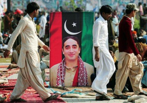 A portrait of Bilawal Bhutto Zardari outside the Bhutto family mausoleum in Garhi Dera Bakhsh on December 27, 2012