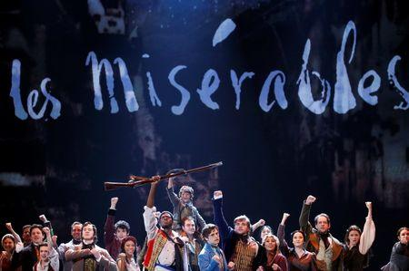 The cast of Les Miserables performs during the American Theatre Wing's 68th annual Tony Awards at Radio City Music Hall in New York