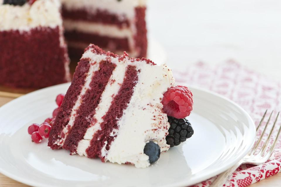 """<p>With a rich cream cheese frosting, there's no denying the deliciousness of red velvet cake. Whether it's for a birthday, graduation, or just an after-dinner dessert, you can make this droolworthy cake any night of the week.</p> <p><strong>Get the recipe</strong>: <a href=""""https://www.popsugar.com/food/Red-Velvet-Cake-36043727"""" class=""""link rapid-noclick-resp"""" rel=""""nofollow noopener"""" target=""""_blank"""" data-ylk=""""slk:red velvet cake"""">red velvet cake</a></p>"""