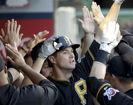 Pittsburgh Pirates' Jordy Mercer celebrates his two-run home run against the Los Angeles Angels during the second inning of a baseball game in Anaheim, Calif., Friday, June 21, 2013. (AP Photo/Chris Carlson)