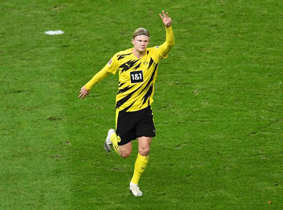 Soccer Football - Bundesliga - Hertha BSC v Borussia Dortmund - Olympiastadion, Berlin, Germany - November 21, 2020 Borussia Dortmund's Erling Braut Haaland celebrates scoring their third goal REUTERS/Annegret Hilse DFL regulations prohibit any use of photographs as image sequences and/or quasi-video.