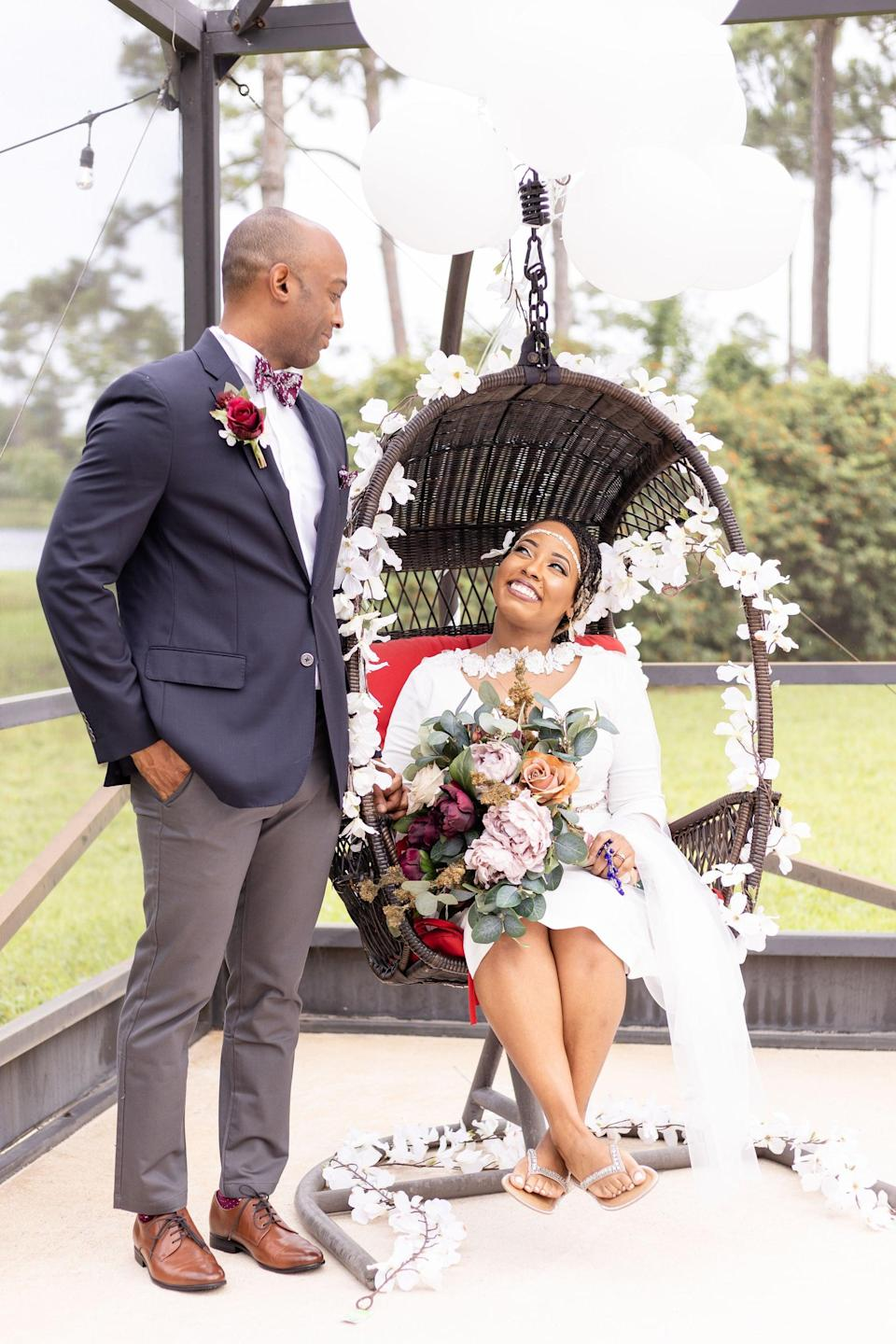 """<p>Upgrade any photo op by adding chic flower vines to the space. You can drape the vines on chairs, tables, the altar, and more. We suggest either matching them to your outfit (think white roses!) or the <a class=""""link rapid-noclick-resp"""" href=""""https://www.popsugar.co.uk/tag/Wedding"""" rel=""""nofollow noopener"""" target=""""_blank"""" data-ylk=""""slk:wedding"""">wedding</a>'s color scheme.</p>"""