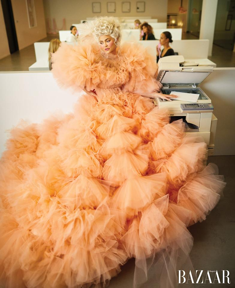 <p>Wearing a Giambattista Valli Haute Couture gown and Buccellati earrings.</p>
