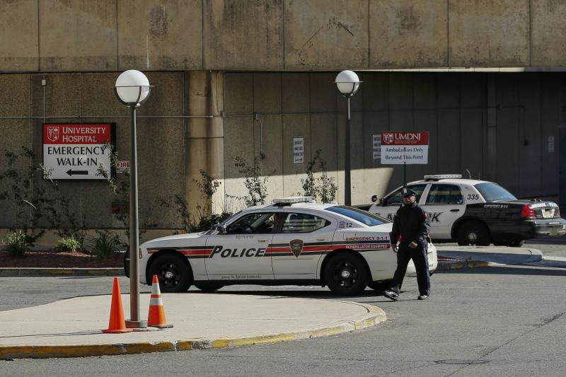 NJPD officer patrols inside the University Hospital where a nurse is hold in isolation for Ebola symptoms in Newark, New Jersey