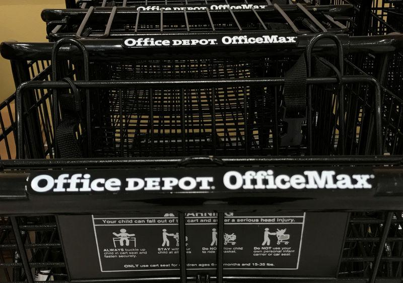 FILE PHOTO: Shopping carts are shown at an Office Depot Inc store in Encinitas