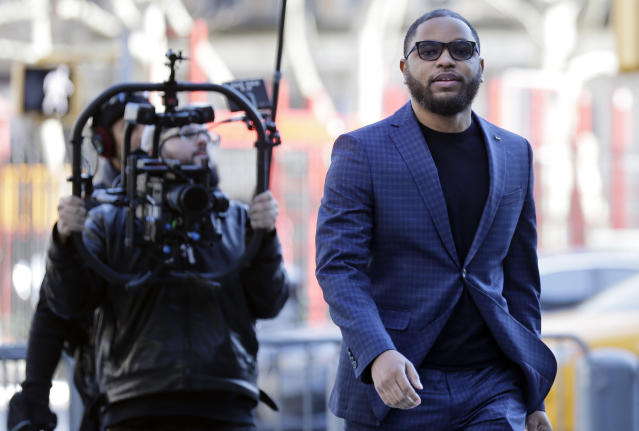 Business manager Christian Dawkins arrives to court in New York, Tuesday, March 5, 2019. (AP/Seth Wenig)