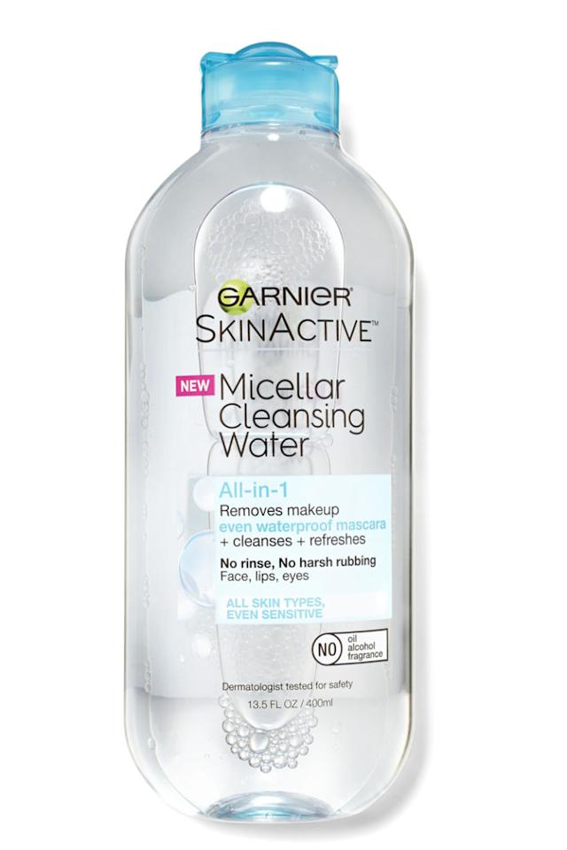 """<p>This easy-to-use cleaning watertakes off the day's makeup, dirt, and summer sweatin a few swipes—no rinsing needed.<span></span></p><p><span><em>Garnier SkinActive Micellar Cleansing Water All-in-<span>1</span>Waterproof Makeup Remover & Cleanser,<span>$8.99</span>; </em><a rel=""""nofollow"""" href=""""https://www.amazon.com/Garnier-SkinActive-Micellar-Cleansing-Waterproof/dp/B017PCGAXQ?tag=syndication-20""""><em>amazon.com</em></a><br></span></p>"""