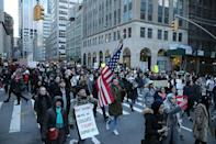 "<p>Demonstrators chants ""No bans, no walls"" as they march up Church Avenue in New York, Jan. 29, 2017, protesting President Donald Trump's immigration order. (Gordon Donovan/Yahoo News) </p>"