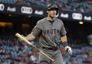 Arizona Diamondbacks' Paul Goldschmidt reacts after striking out swinging against San Francisco Giants starting pitcher Madison Bumgarner in the first inning of a baseball game Tuesday, Aug. 28, 2018, in San Francisco. (AP Photo/Eric Risberg)