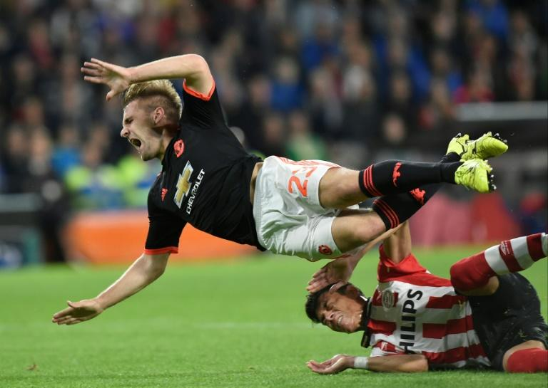 Manchester United's Luke Shaw suffered a horrendous leg break against PSV Eindhoven in September 2015