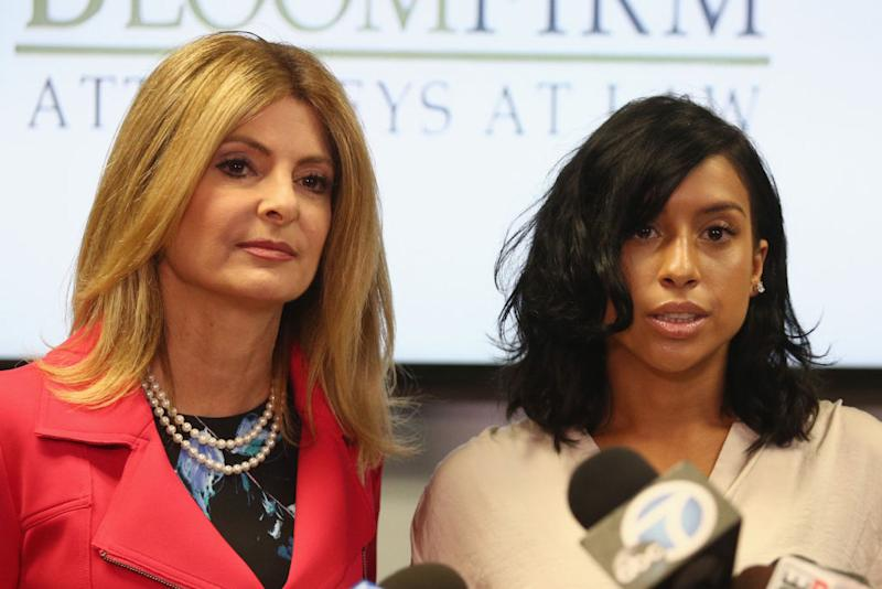 Lawyer Lisa Bloom and Montia Sabbag attend the press conference. (Photo: Frederick M. Brown/Getty Images)