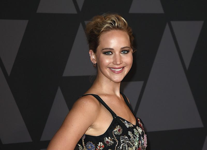 Jennifer Lawrence continues the lingerie trend with her garden goth corset top