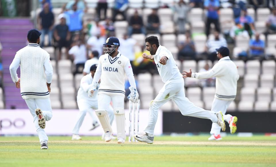 SOUTHAMPTON, ENGLAND - JUNE 23: Ravichandran Ashwin of India celebrates the wicket of Kane Williamson which is later overturned by DRS during the Reserve Day of the ICC World Test Championship Final between India and New Zealand at The Hampshire Bowl on June 23, 2021 in Southampton, England. (Photo by Alex Davidson/Getty Images)