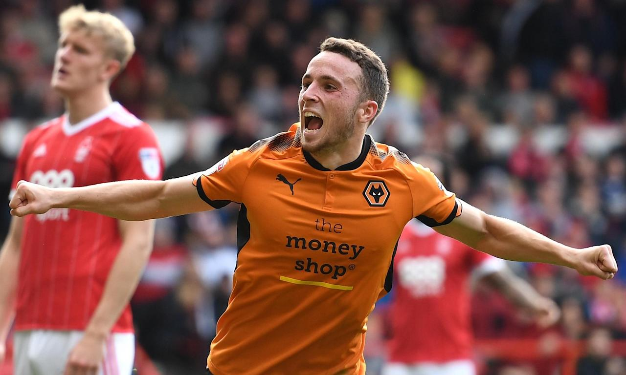 Diogo Jota celebrates the first of his brace as Wolves beat Nottingham Forest at the City Ground.