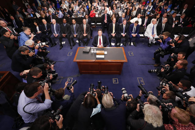 <p>James Comey, the dismissed FBI director, appears before the Senate Intelligence Committee on June 8, 2017, to testify about his encounters with President Donald Trump. (Photograph by Doug Mills/The New York Times) </p>