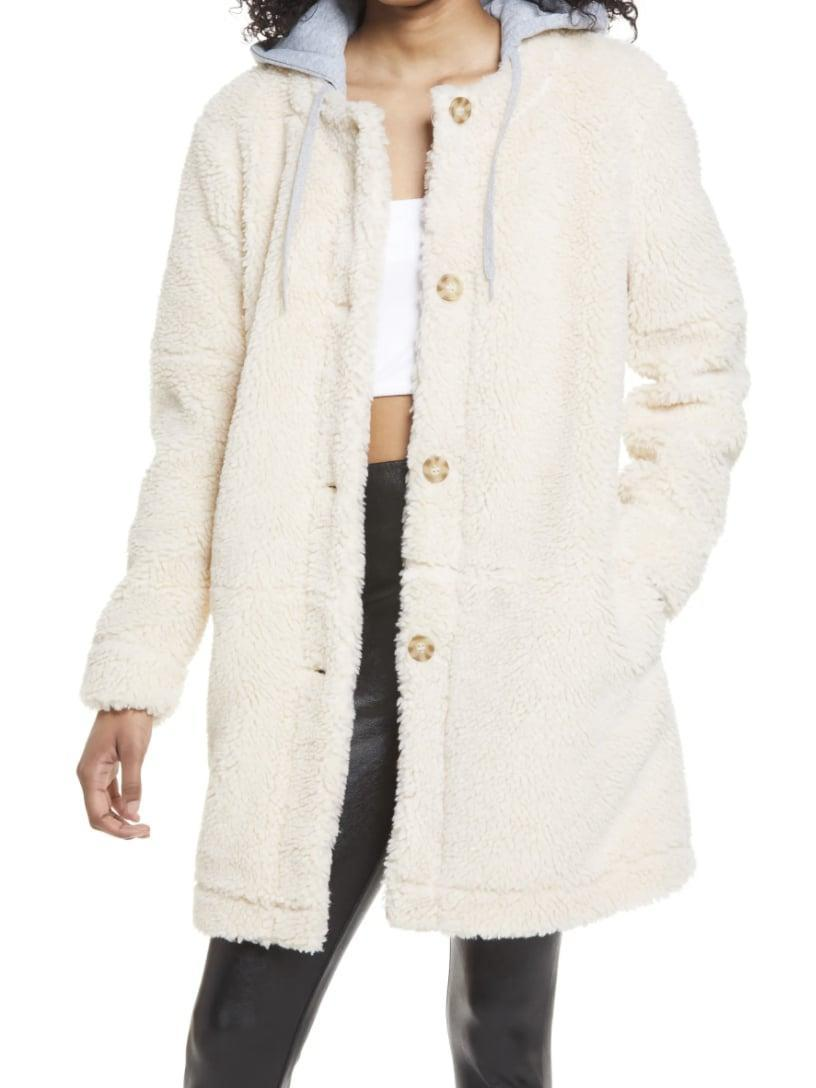 <p>This fuzzy <span>BP. Long Hooded Teddy Coat</span> ($69) looks extremely comfortable.</p>