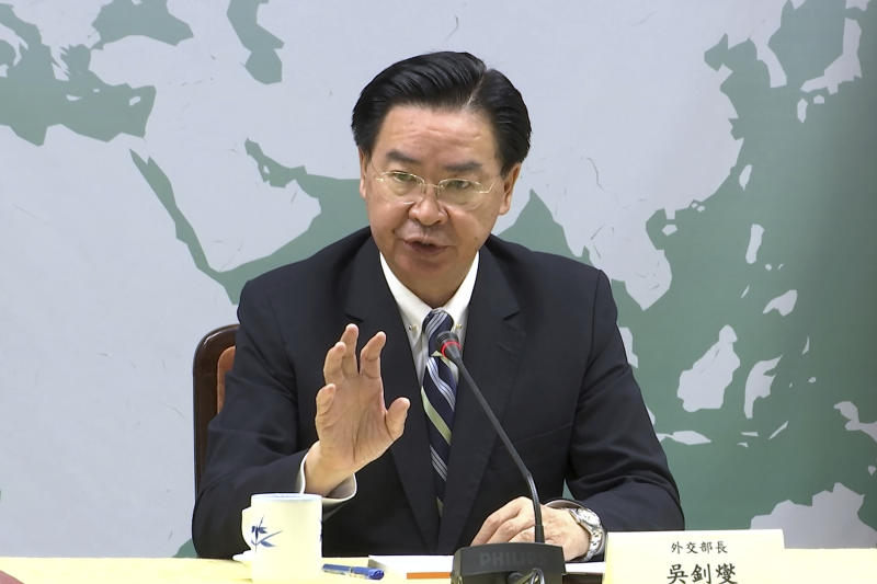 In this image taken from video, Taiwan's Foreign Minister Joseph Wu explains that Kiribati has officially notified his government that they were severing diplomatic ties with the island, Friday, Sept. 20, 2019, in Taipei, Taiwan. Kiribati's severing of ties with Taiwan is the second such loss for the diplomatically isolated island in less than a week. (AP Photo/Johnson Lai)