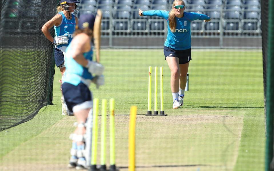 Sophie Ecclestone bowls in the nets - GETTY IMAGES