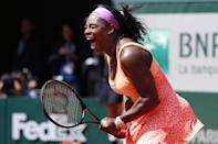 US Serena Williams celebrates her victory over Italy's Sara Errani at the end of their French Open women's quarter final match in Paris on June 3, 2015 (AFP Photo/Kenzo Tribouillard)