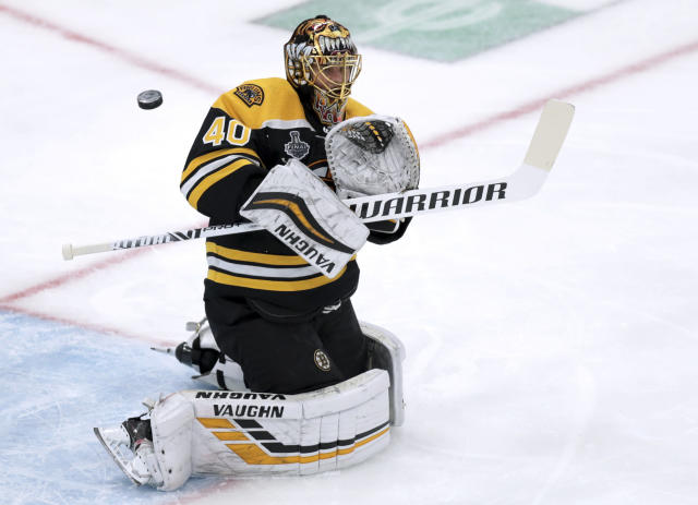 FILE - In this June 6, 2019, file photo, Boston Bruins goaltender Tuukka Rask, of Finland, turns the puck aside in Game 5 of the NHL hockey Stanley Cup Final against the St. Louis Blues in Boston. The Bruins are hoping to make a run at the Stanley Cup this season with essentially the same roster that made it to Game 7 of the finals last year. (AP Photo/Charles Krupa, File)