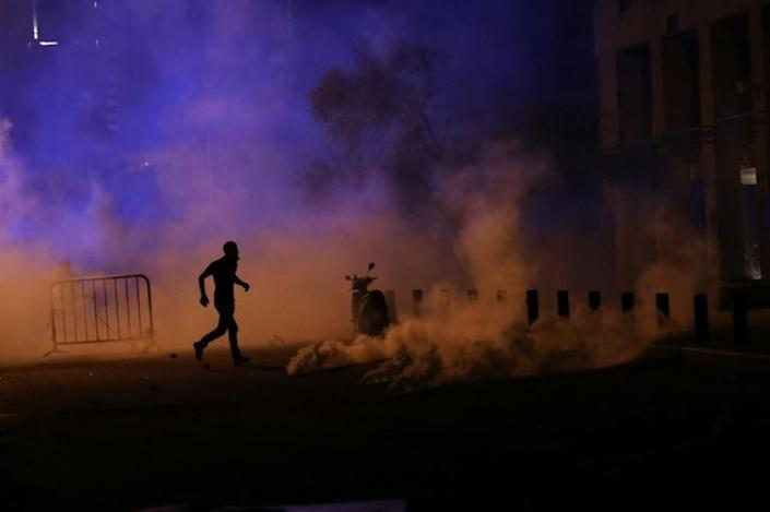Thousands of anti-government protesters took to the streets of Beirut on Sunday evening