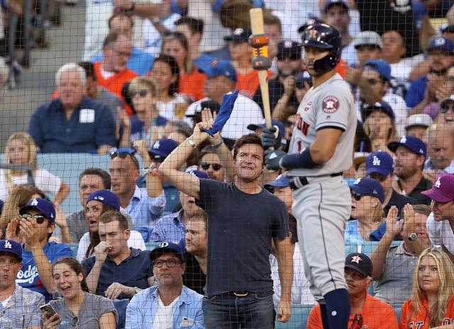 <p>Dodgers fan Jason Bateman was in the stands to watch the World Series. We hope he didn't get into any arguments with the Astros fans next to him! (Photo: Christian Petersen/Getty Images) </p>