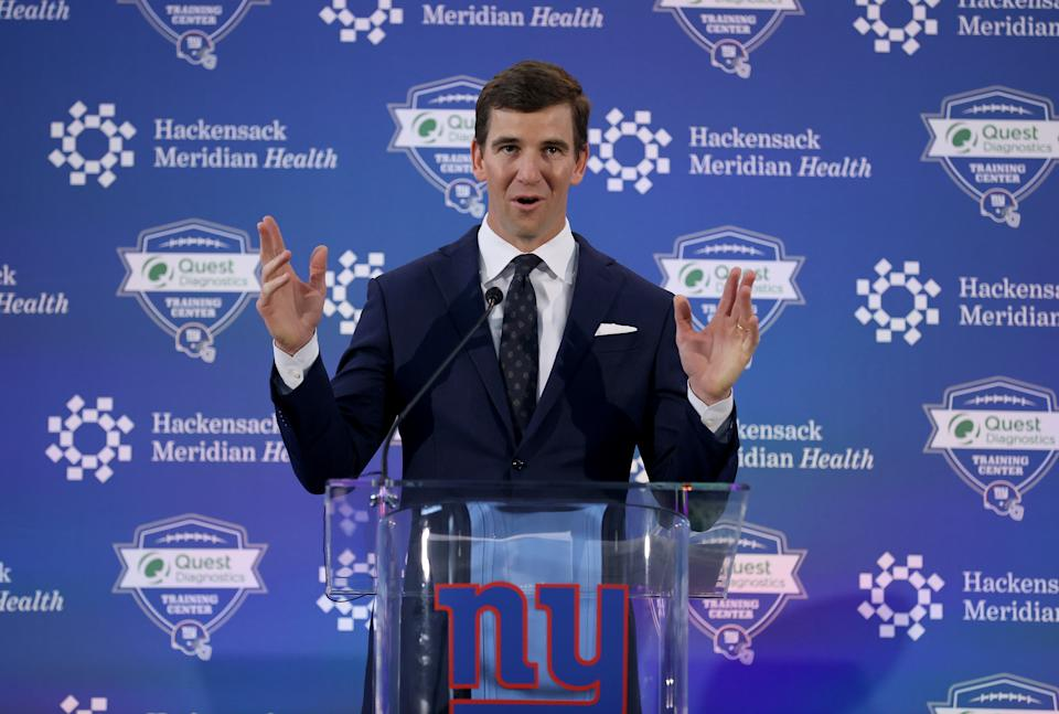 Whoa. Eli Manning is on Twitter. This is not a drill. (Photo by Elsa/Getty Images)