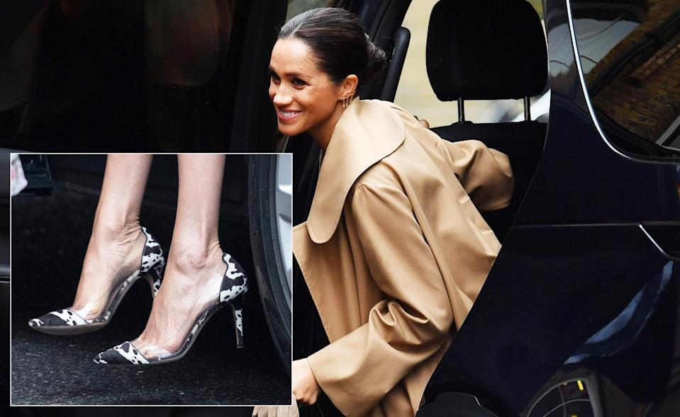 Meghan Markle donned eye-grabbing cow print heels for her first public outing of 2018 [Photo: Getty]