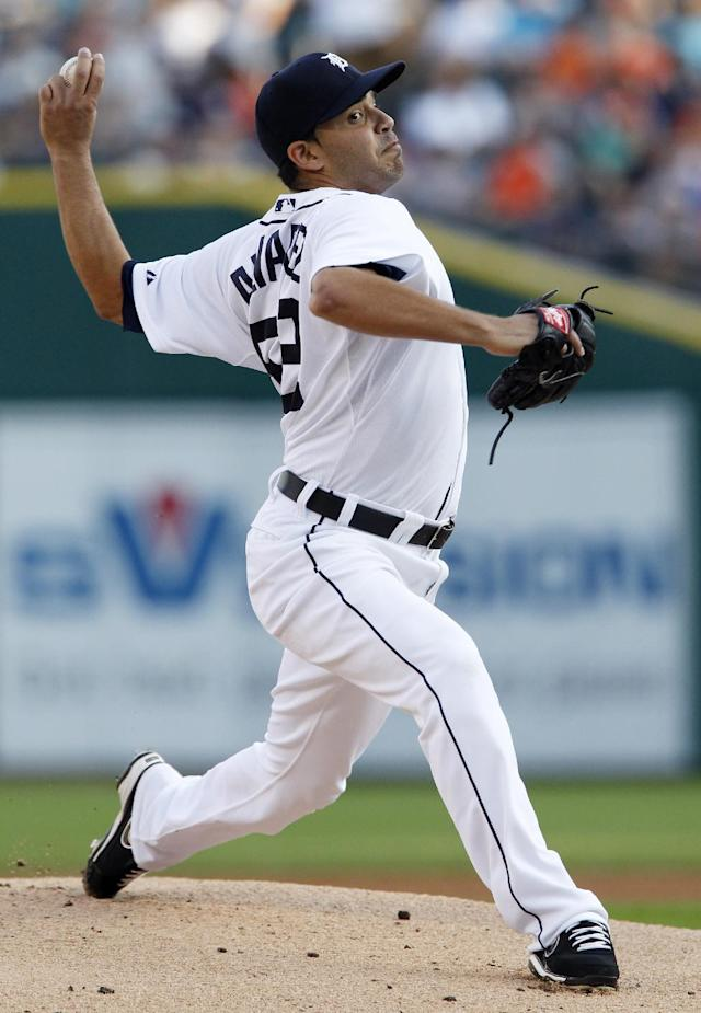 Detroit Tigers pitcher Jose Alvarez delivers against the Kansas City Royals in the first inning during the second game of a doubleheader baseball game, Friday, Aug. 16, 2013, in Detroit. (AP Photo/Duane Burleson)