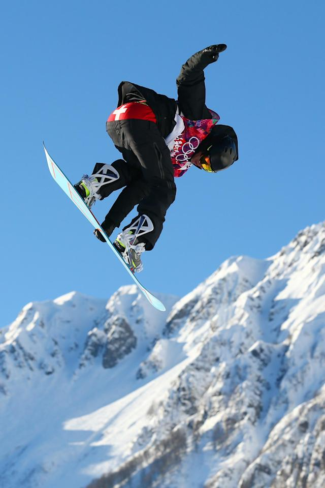 SOCHI, RUSSIA - FEBRUARY 08: Jan Scherrer of Switzerland competes during the Snowboard Men's Slopestyle Semifinals during day 1 of the Sochi 2014 Winter Olympics at Rosa Khutor Extreme Park on February 8, 2014 in Sochi, Russia. (Photo by Cameron Spencer/Getty Images)