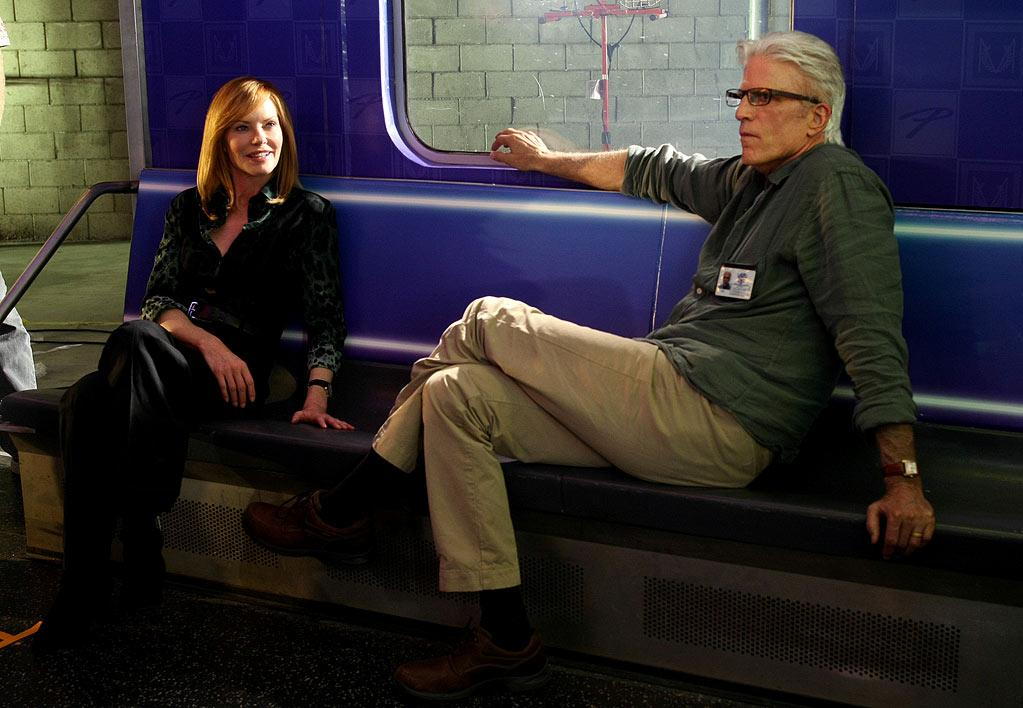"""Marg Helgenberger as Catherine Willows and Ted Danson as D.B. Russell on """"CSI: Crime Scene Investigation."""""""