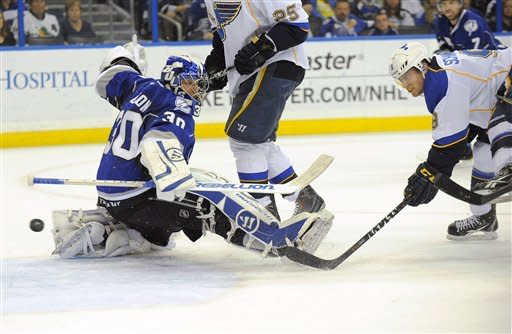 St. Louis Blues center Jaden Schwartz, right, shoots by Tampa Bay Lightning goalie Dwayne Roloson, left, for the score during the first period of an NHL hockey game, Saturday, March 17, 2012, in Tampa, Fla. (AP Photo/Brian Blanco)