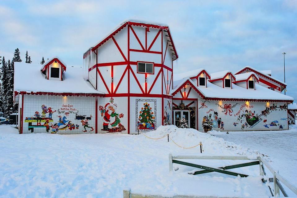 """<p>It doesn't get more Christmasy than visiting a town named after Santa Claus' home. Though this <a href=""""https://www.alaska.org/detail/santa-claus-house"""" rel=""""nofollow noopener"""" target=""""_blank"""" data-ylk=""""slk:North Pole"""" class=""""link rapid-noclick-resp"""">North Pole</a> isn't the same as the mythical home of jolly ol' Saint Nick, it is filled with Christmas spirit, live reindeer, a mayor named Santa, and candy cane street lamps.</p>"""