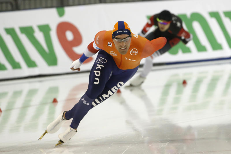 Netherlands' Kjeld Nuis competes in the men's 1,500 meters during the world single distances speedskating championships Sunday, Feb. 16, 2020, in Kearns, Utah. (AP Photo/Rick Bowmer)