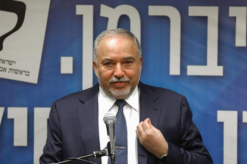 Israel's former defence minister Avigdor Lieberman, whose demand for legislation requiring ultra-Orthodox Jews to perform mandatory military service torpedoed Netanyahu's coalition talks, says he wants a nationalist government not a religious one (AFP Photo/MENAHEM KAHANA)