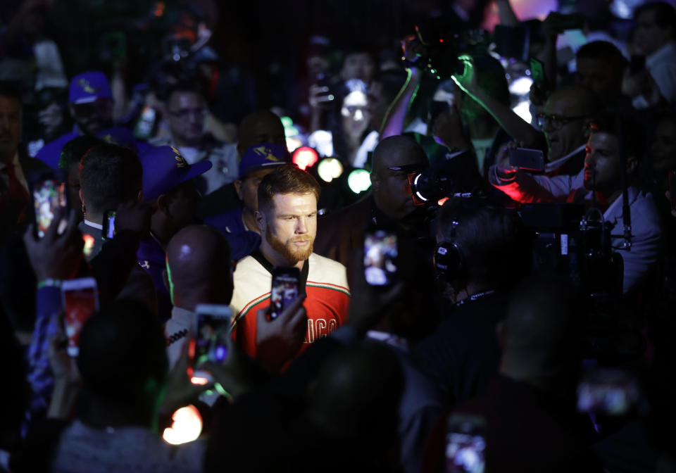 Canelo Alvarez is blaming eating contaminated meat for his failed drug tests in February. (AP Photo/John Locher)
