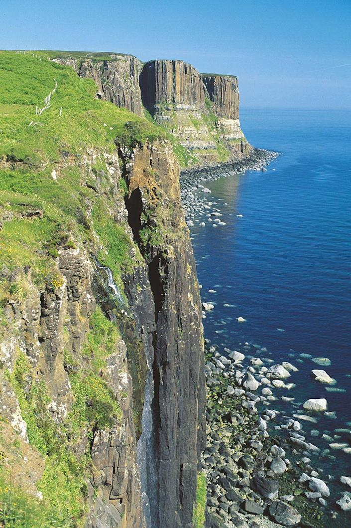 <p>Located off the west coast of Scotland, the Isle of Skye boasts steep, rocky cliffs, picturesque harbors, and a cool climate. People love to visit the Fairy Pools, with their gorgeous blue-green waterfalls, and Quiraing, an ancient landslide with a hiking loop.</p>