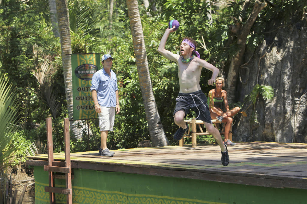 """Cut Off the Head of the Snake"" - John Cochran competes in the Reward Challenge during the ninth episode of ""Survivor: Caramoan - Fans vs. Favorites."""